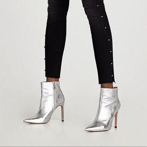 ZARA Silver Metallic Stilleto Heels Ankle Boots